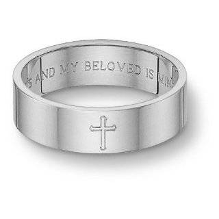Song of Solomon Cross Wedding Band   White Gold Jewelry