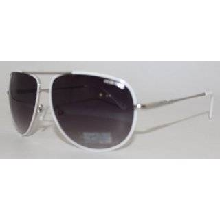 Kenneth Cole Reaction Metal Aviator Sunglass White / Shiny Silver