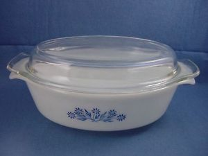 Vtg Anchor Hocking Fire King Bakeware Blue Flower Oval Casserole Baker Glass Lid