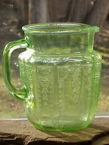 "Anchor Hocking Uranium Green Depression Glass Princess Pattern 6"" Juice Pitcher"