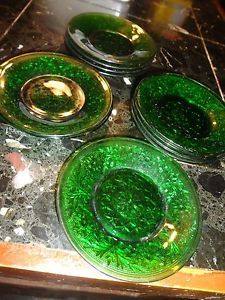 Emerald Green Anchor Hocking Depression Sandwich Glass Custard Liner Plates