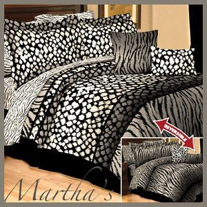 New 10pc Queen Black White Gray Zebra Leopard Animal Print Comforter Bedding Set