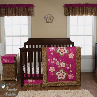 Baby Girl Raspberry Pink Leopard Animal Print Crib Nursery Bed Quilt Bedding Set