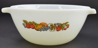 Vintage Anchor Hocking Glass Fire King Fruit Pattern Cinderella Mixing Bowl