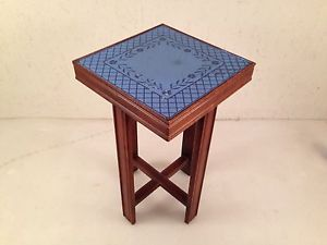 Vtg Antique Art Deco Cobalt Blue Glass Mirror Top Hall End Console Table Stand
