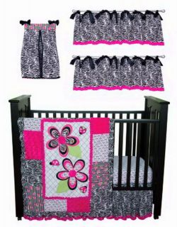 New Baby Girl Pink Crib Bedding Set Includes Quilt Bed Skirt Crib Sheet