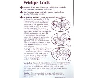 Clippasafe Fridge Lock Baby Child Safety BN