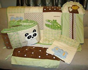 Baby Boy Crib Bedding 5 PC Set Animals Panda Crocodile Elephant Baby Bedding