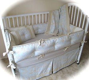 Blue Brown Central Park Toile Baby Crib Bedding Set