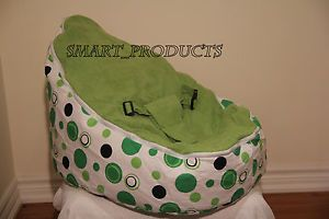 Baby Bean Bag Chair and Bed for Infants Toddlers Kids Green Polka Dots