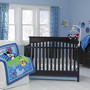 Disney Mickey Mouse Crib Set Bedding Includes Bumper Pads Baby
