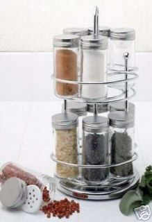Norpro Stainless Steel Spice Rack with Rotating Stand 12 Glass Spice Jars