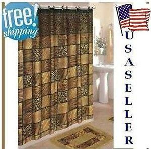 NIP New 15 PC Bath Bathroom Mat Rug Shower Curtain Hook Accessory Set Choices