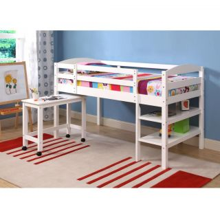 Twin Wood Loft Bed with Desk and Storage Under Bed White Contemporary Sturdy
