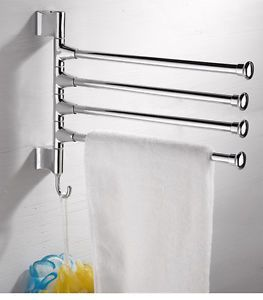 Towel Holder 4 Swivel Bars Stainless Steel Bath Rack Rail Hanger Bathroom Cheap