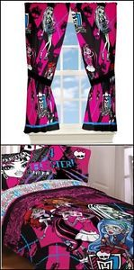 Girls Monster High Dolls Twin Single Size Bed Comforter Sheet Set Drapes