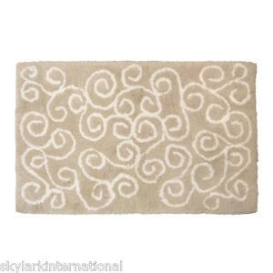 HN Spa Symphony Bath Rug Bathroom Mat Plush 100 Cotton Non Skid Cream White