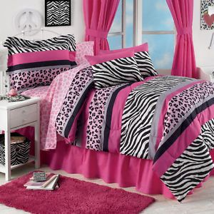 Teen Girl Pink Zebra Leopard Animal 6P Twin Size Comforter Sheets Bed in Bag Set