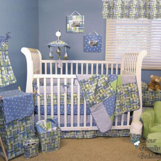 Baby Boy Girl Neutral Blue Green Nautical Themed Crib Nursery Bedding Quilt Set