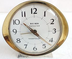 Retro Vintage White Gold Westclox Big Ben Repeater Bedside Table Alarm Clock