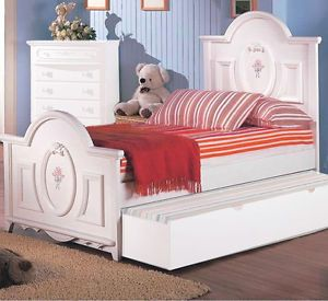 Sweet Dreams White Girl's Youth Full Bed Trundle Bedroom Furniture Sale
