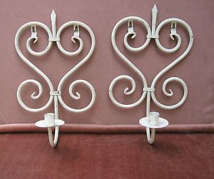 Vintage White Painted Rod Iron Wall Sconce Candle Holder Yard Art