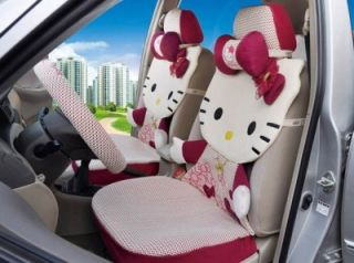 Hello Kitty Auto Car Seat Cover Accessories Set 12 Pcs Rose Red