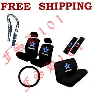 New NFL Dallas Cowboys Car Seat Covers Steering Wheel Cover Lanyard Set