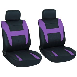 16pc Set Purple Black Auto Car Seat Cover Free Steering Wheel Belt Pad Head Rest
