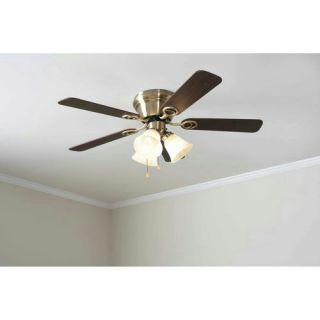 "Mainstays 42"" Ceiling Fan with Light Kit Antique Brass 17817"