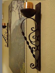 Rustic Tuscan Artisan Iron Wall Sconces Pillar Candle Holders Pair New