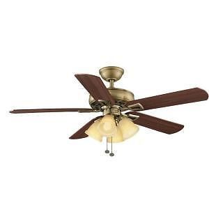 Hampton Bay Lyndhurst 52 in Indoor Antique Brass Ceiling Fan Light Kit 795 871