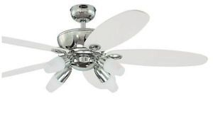 Westinghouse Panorama 52 inch Modern Ceiling Fan with Light Kit White and Chrome
