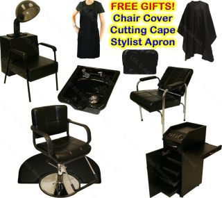 Hydraulic Barber Chair Station Shampoo Bowl Sink Hair Dryer Spa Salon Equipment