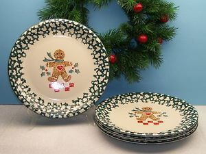 4 Tienshan China Folk Craft Christmas Holiday Gingerbread Man Dinner Plates XLNT