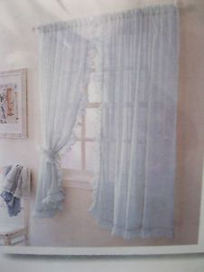Lot of 2 New Simply Shabby Chic Window Panels Drapes Curtains Blue 60 x 63 Voile