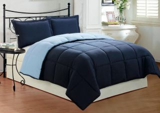 3 PC New Soft Down Alternative Reversible Comforter Set King Size Navy Blue