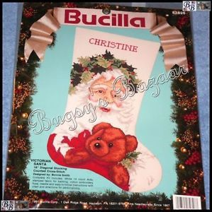Bucilla Victorian Santa Stocking Counted Cross Stitch Christmas Kit Teddy Bear