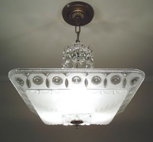 30s Vintage Art Deco Square Glass Ceiling Light Fixture Chandelier Satin Crystal