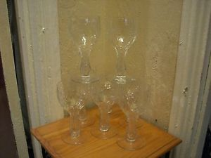 1920s art deco crystal hollow stem wine glasses stemware set of 8