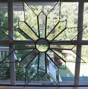 Art Glass Window Hanging Crystal Leaded Stained Glass Star or Snowflake Large