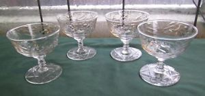 Lot 4 Depression Crystal Stemware Water Goblets Drinking Glasses Star of David