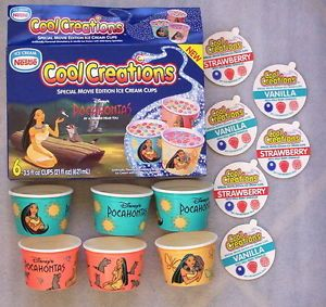 Disney 1995 Pocahontas Ice Cream Box Cups Lids Collectible Advertising Promo