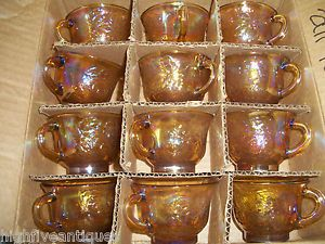 12 Iridescent Gold Carnival Glass Punch Bowl Cups Vintage