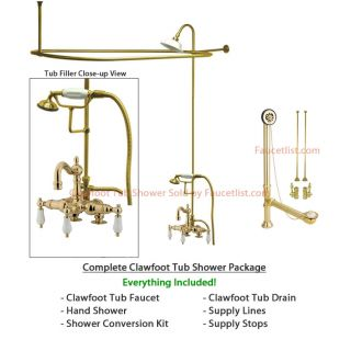 Polished Brass Clawfoot Tub Faucet Shower Kit Enclosure Curtain Rod 1015T2CTS
