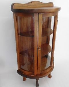 Vntg Wood Glass Table Top Curio Small Display Cabinet w Shelves Bow Curved Case