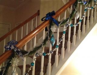 Martha Stewart Living Arctic 9 ft Silver and Blue Ornament Garland
