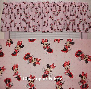 New Minnie Mouse Walt Disney Girls Room Baby Pink Nursery Valances Curtain