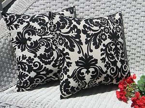 Set of 2 Black Ivory Cream Damask Outdoor Decorative Throw Pillows