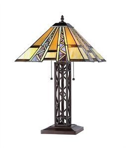 Retro Stained Glass Arts Crafts Mission Tiffany Style Table Desk Lamp